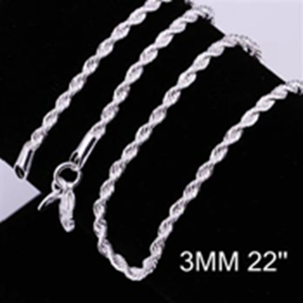 wholesale price 16-24 inch 3 mm twisted chains necklaces 925 sterling sivler jewelry fine silver necklaces for pendants