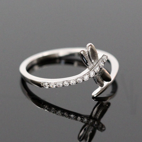 Zircon Dragonfly Engagement/Wedding Rings for Women Anillos S925 Sterling Silver Opening CZ Diamond Ring Jewelry Bague Bijoux