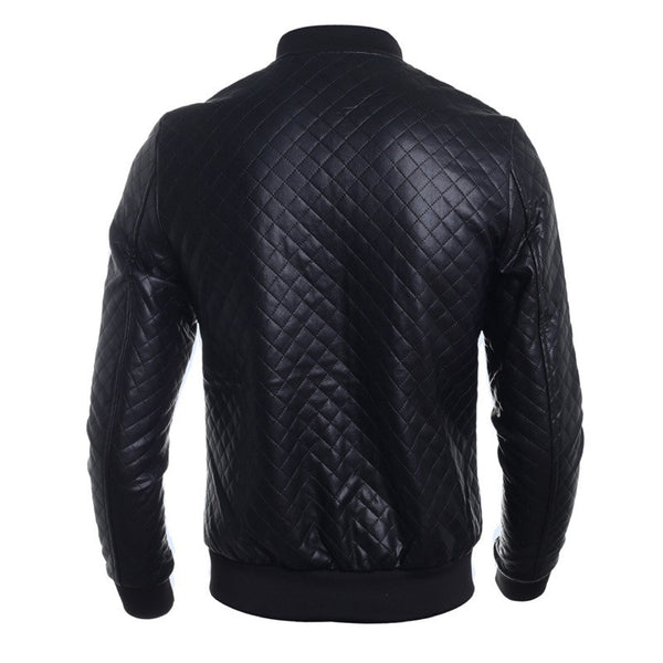 Men's Autumn New Casual Leather Jackets Black Stand-collar Jackets Free Shipping