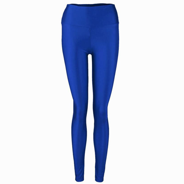 Fashion Women Pants Shiny Elastic High Waist Stretchy Candy Colors Ladies Dance Leggings Slim Fit Nine pants