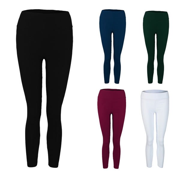 Skinny Women Pants High Waist Stretchy Candy Colors Ladies Elastic Leggings Nine pants White Black