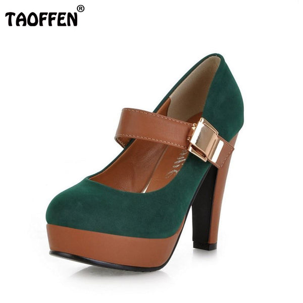 Women Stiletto High Heel Shoes Platform Buckle Lady Quality Footwear Fashion Escarpin Heeled Pumps Heels Shoes P2583 Size 34-43