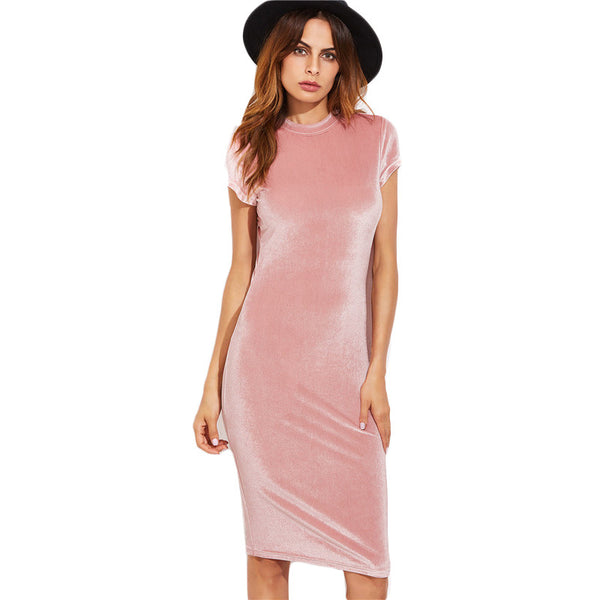 COLROVIE Velvet Sheath Dress Office Ladies Round Neck Slim Pencil Dress Work Wear Knee Length Dress