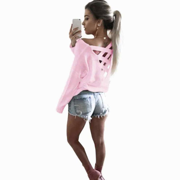 Womens T-Shirt Sexy Bandage Decoration Backless Long Sleeve Ladies Casual Party Tops 4 Colors Casual Female Shirt #LSN