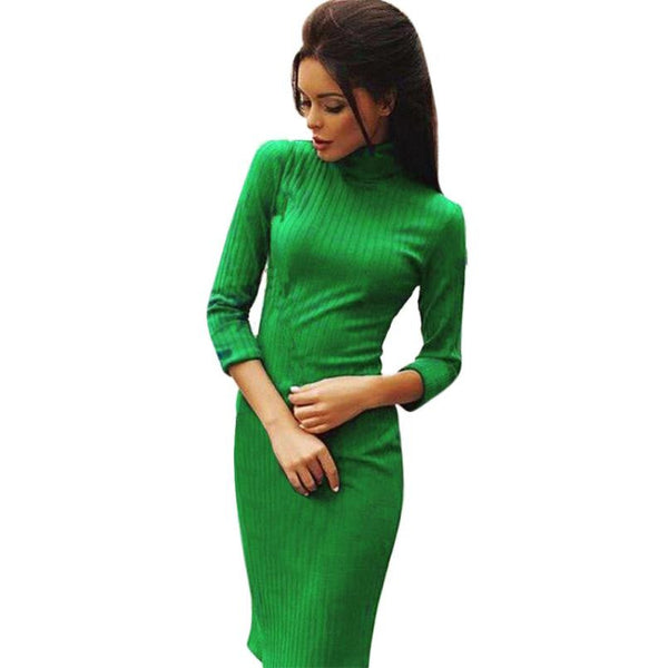 Sexy Women Dress  Office Wear Stretch Knitted Long Sleeve Turtleneck Jumper Pullover Solid Green Red Elegant Slim Dress