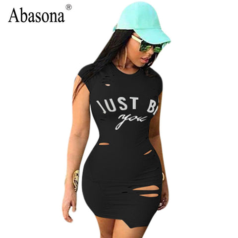 Abasona Women summer casual dress short sleeve O-neck letter print t-shirt mini dress sexy Hole hollow out slim bodycon dresses