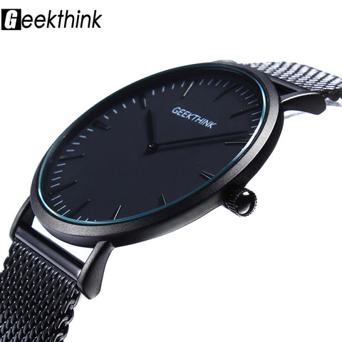 Top Brand Luxury Quartz watch Casual men Black Japan quartz-watch stainless steel Mesh strap ultra thin clock male 2016 New