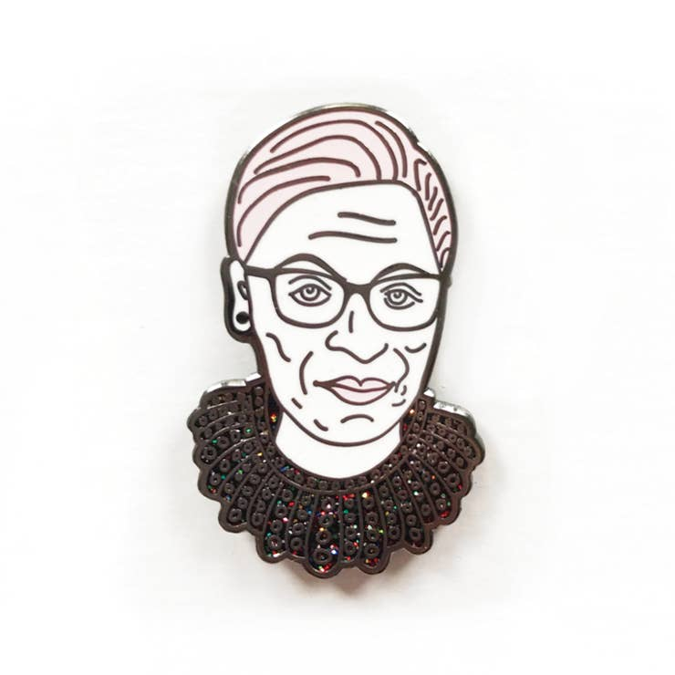Ruth Bader Ginsburg Dissent Collar Glitter Enamel Pin - PERSUCOLLECTION functional men and women's duffle bag, gym bag, travel bag all-in-one! The only washable interior gym bag.