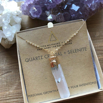 Quartz Crystal + Selenite Healing Crystal Necklace - PERSUCOLLECTION functional men and women's duffle bag, gym bag, travel bag all-in-one! The only washable interior gym bag.