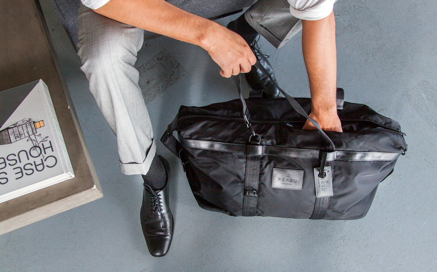 THE SOL BAG - PERSUCOLLECTION functional men and women's duffle bag, gym bag, travel bag all-in-one! The only washable interior gym bag.