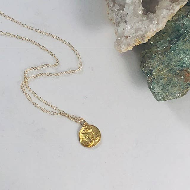 Om Spiral Charm Necklace