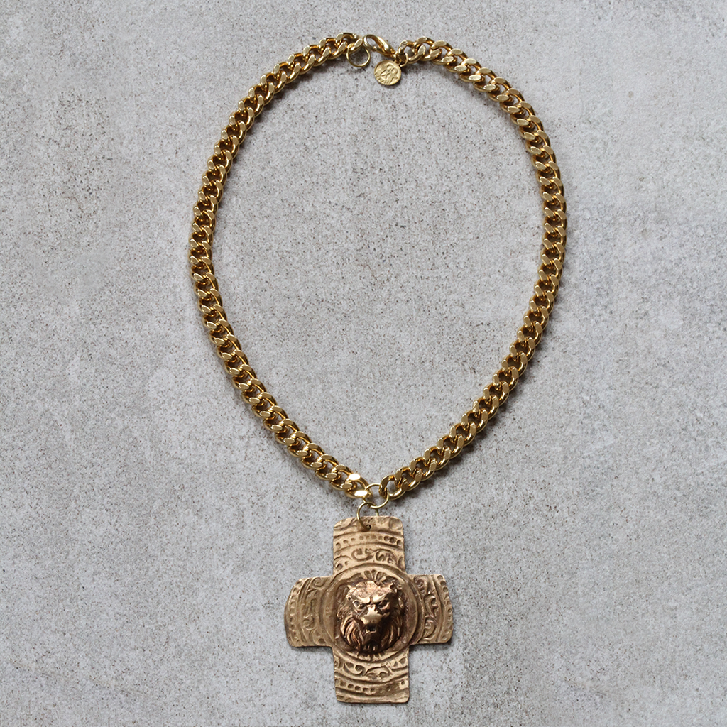 Lion x Cross on Gold Plated Curb Chain