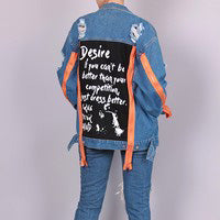 Oversized Distressed Denim Jacket with Orange Zipper Design Detail