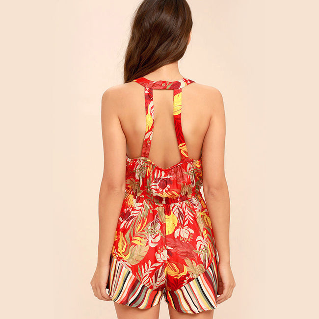 Monsoon Leaves Red Print Romper