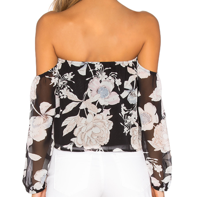 Crop Floral off shoulder