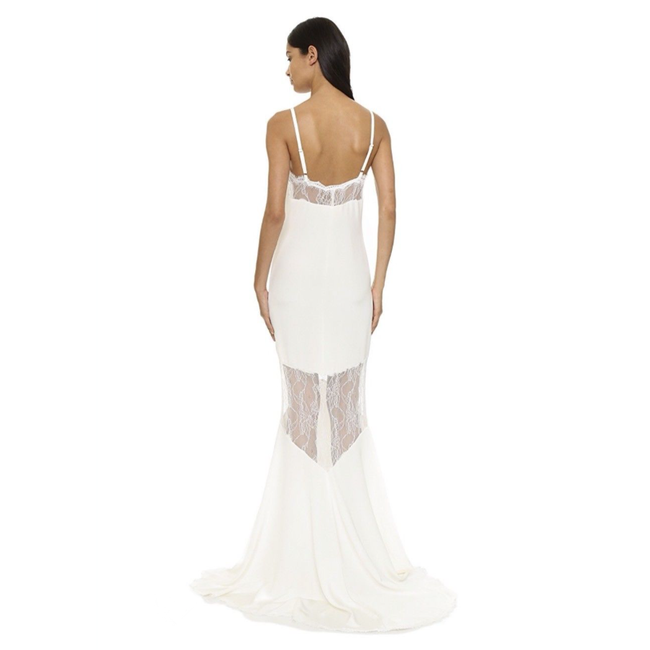 Stone Cold Fox White Silk Maxi Lace Gown