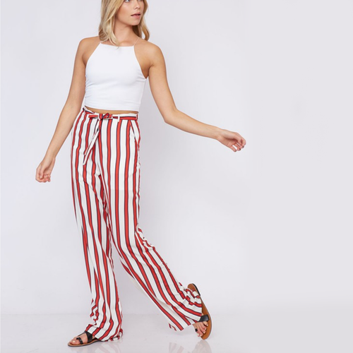 Striped Pants with Waist-Tie detail
