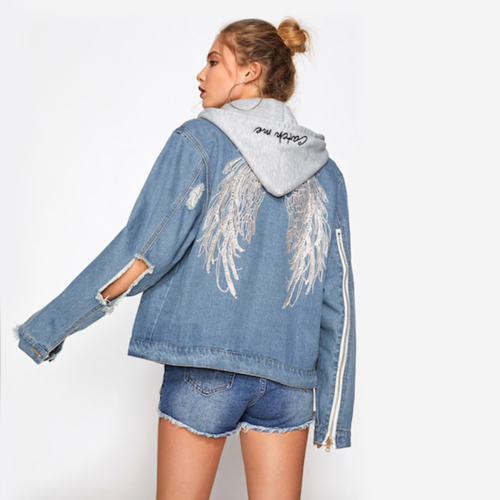 Angel Hooded Denim Jacket