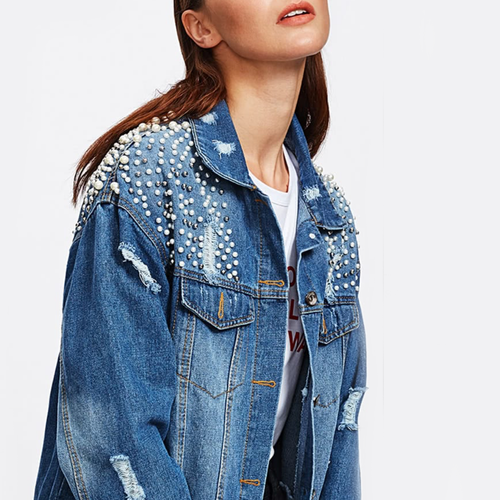 Pearl Embellished Distressed Denim Jacket