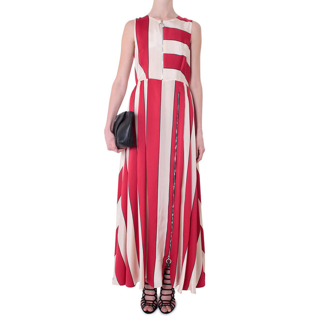 SportMax [Fachiro striped satin dress • RED]