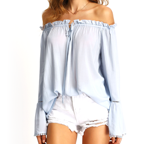 Baby Blue Off The Shoulder Blouse