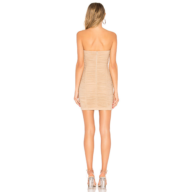 Ruched Sheer Strapless Dress