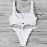 Knot Front Ribbed Bikini Set