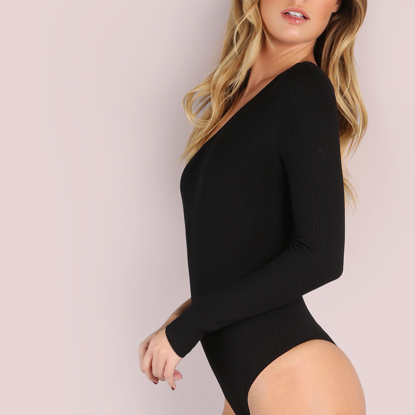 Black One-shoulder Sweater Bodysuit