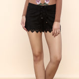 Black Alaqua Faux Suede Shorts