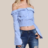 Off shoulder tie back blouse
