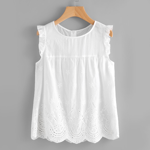Embroidered sleeveless white blouse