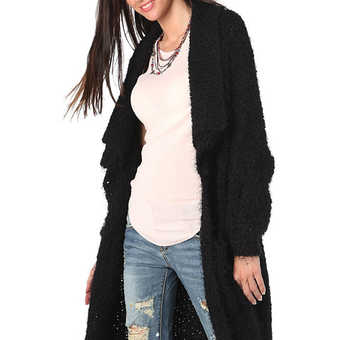 BLACK LONGLINE OVERSIZE CARDIGAN IN FLUFFY YARN