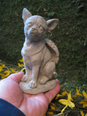 Chihuahua Dog Angel White or Grey Concrete Garden Statue All