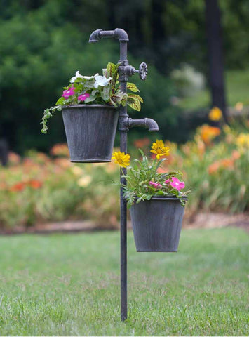 Faucet Garden Stake With Two Planters   *FREE SHIPPING*