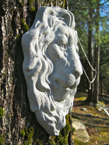lion face hanging plaque concrete garden decor - Concrete Garden Decor