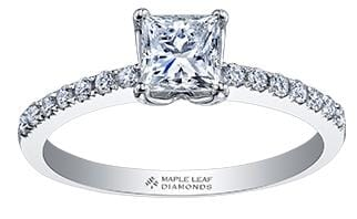18 Karat White Gold Canadian Princess Cut Diamond Engagement Ring