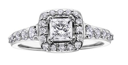 18 Karat White Gold Canadian Diamond Engagement Ring.