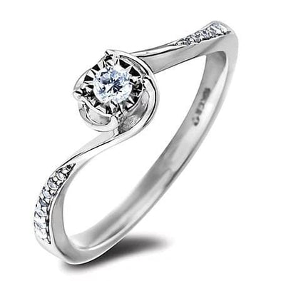 10 Karat White Gold Canadian Diamond Engagement Ring