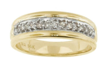 14 Karat Yellow Gold, White Gold Accent Diamond Wedding Band