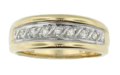 Ladies 10 Karat Yellow Gold, White Gold Accent Diamond Wedding Band