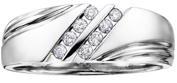10 Karat White Gold Diamond Wedding Band