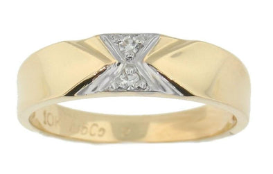 10 Karat Yellow Gold, White Gold Accent Diamond Wedding Band