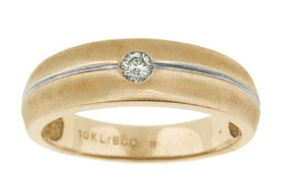 10 Karat Yellow Gold, White Gold Accent Diamond Wedding Ring