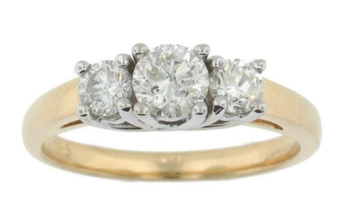 14 Karat Yellow Gold, White Gold Accent Diamond Ring