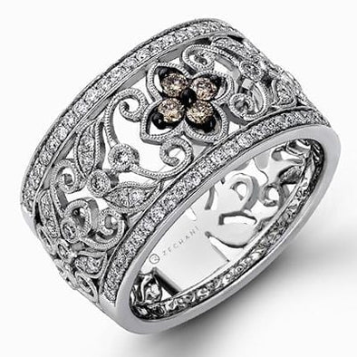14 Karat White Gold Chocolate & White Diamond Ring