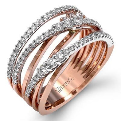 18 Karat Rose Gold, White Gold Accent Diamond Ring