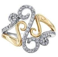 10 Karat White Gold, Yellow Gold Accent Diamond Ring
