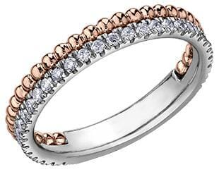 10 Karat White Gold, Rose Gold Diamond Band