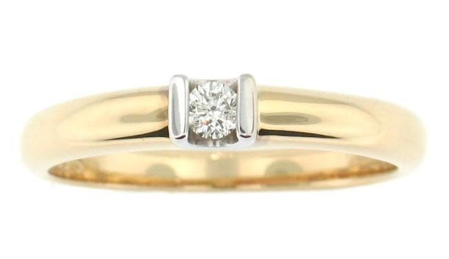 10 Karat Yellow Gold, White Gold Accent Diamond Solitaire