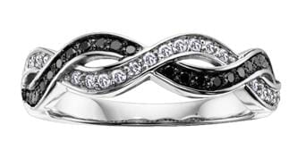 10 Karat White Gold Black & White Diamond Ring